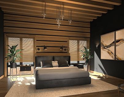Dark Modern Bedroom with Terrace