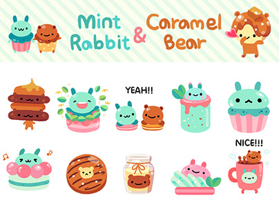 Mint Rabbit & Caramel Bear sticker pack