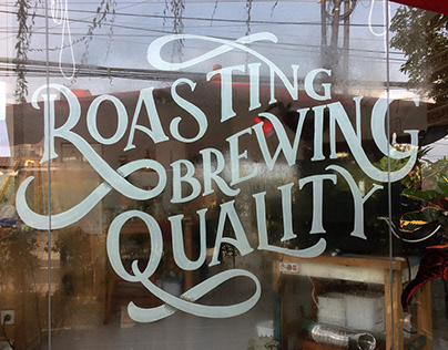Hand Lettering Slogan for Red Spatula Coffee & Roastery
