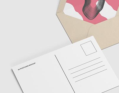 A6 Postcard and Envelope Mockups