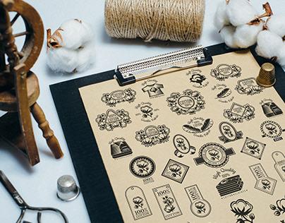 Cotton set, vector and photos
