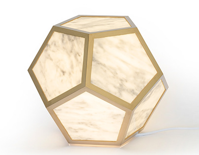 ÆTHER - luminaire design dodecaèdre bronze et marbre