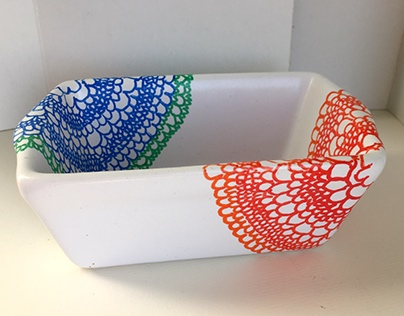 Colorful Lace Pattern Ceramic Dish