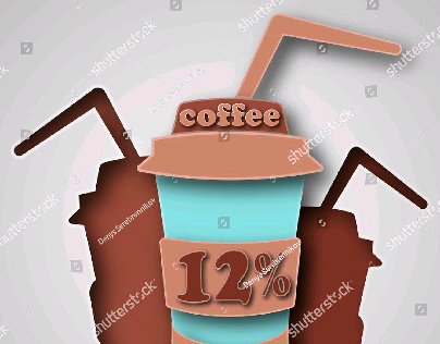 Paper art carve coffee. Vector illustration
