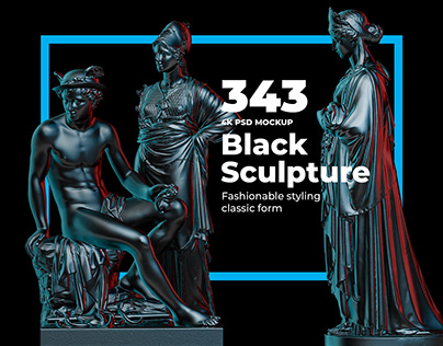 Collection of 343 Sculptures in Black Style