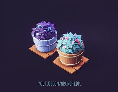 low poly flowers - blender 3D