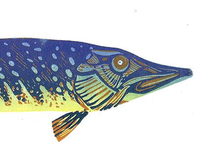 Linocut postcards-Fishes part II
