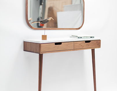 Walnut and marble console