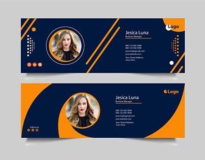 Email signature design yellow & blue color