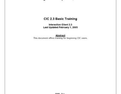 Basic Client Training