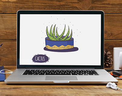 Illustrations with cactuses