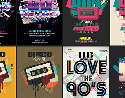 Retro Party Flyer Template Bundle