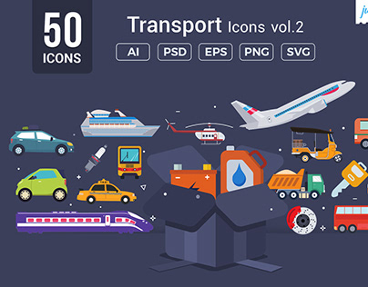 Flat Vector Transport Icons