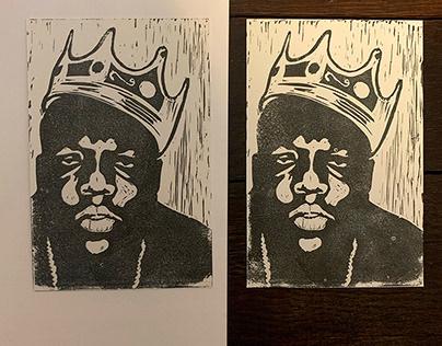 Biggie Smalls - Linoleum Block Print
