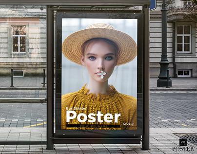 Bus Shelter Poster Mockup Free