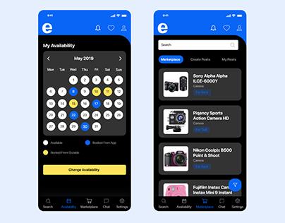 Calendar & Marketplace Screen App Design