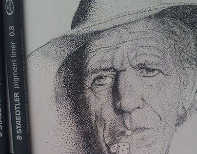 Keith Richards portrait in stippling