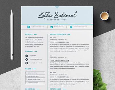 One Page Resume / CV Template with Cover Letter
