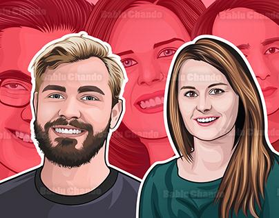 15 Cartoon or Vector portraits for a business team.