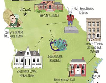 Illustrated Tour Maps of Georgia, USA
