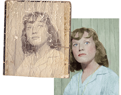 Restoration of a severely damaged photograph (c 1958)