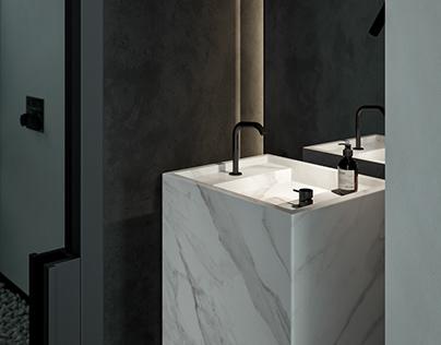 Monochrom Bathroom in Prague (3d model)