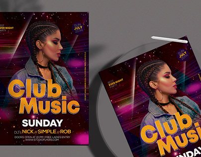 Club Music Free PSD Flyer Template