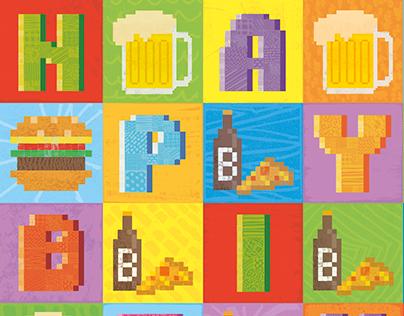 Pixel Love Art card: Birthday burgers