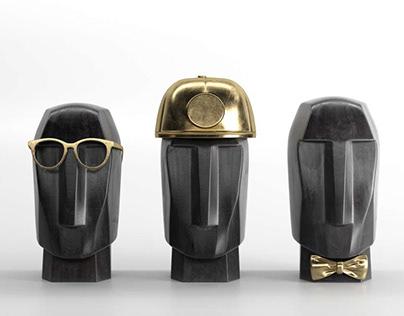 Marble head trips sculptures 3D model - Bentanji