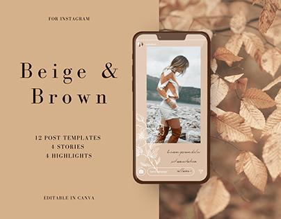 Beige & Brown. Set of Instagram templates