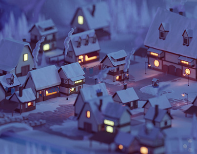 Low poly fantasy village