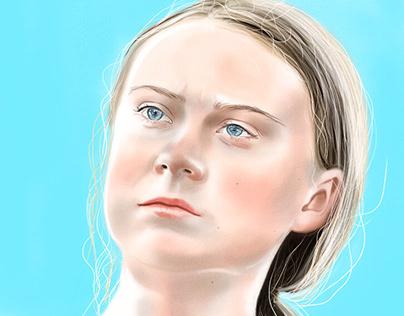 Greta Thunberg fan art painted in Adobe Fresco