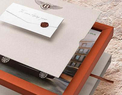 Prezentační box pro brožury nového auta značky Bentley