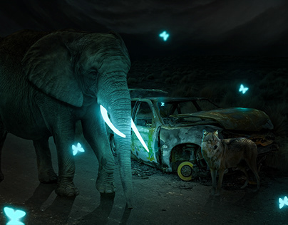 Surreal Glowing Elephant