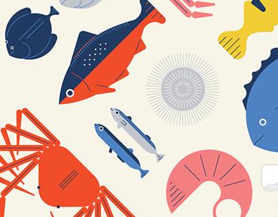 poissons et fruits de mer / fruits et légumes de saison