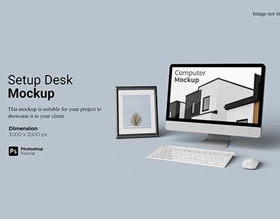 Computer Setup Desk Mockup