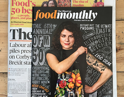 Observer Food Monthly 50 Typographic Front Cover
