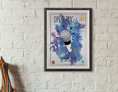 Poster, Instagram-post and Facebook cover for Open Mic