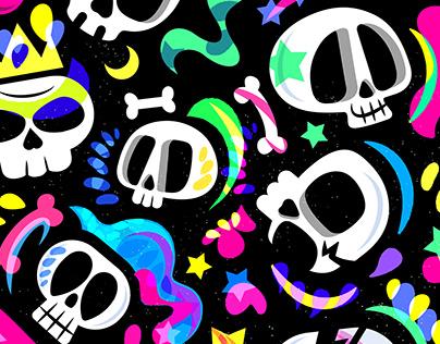 Crazy Skulls Pattern design