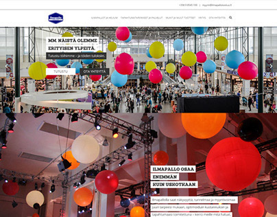 Ilmapallokeskus www-site early designs and page layouts