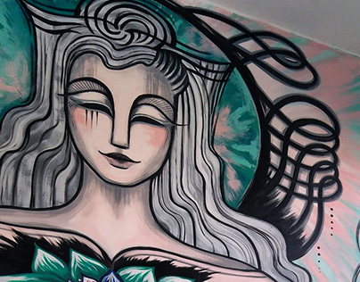Guan Yin mural for the Psychedelic Society, London