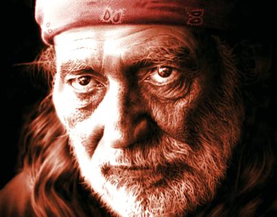Willie Nelson pixel portrait