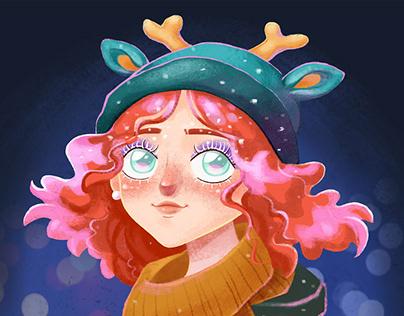 Winter girl. Cartoon character portrait