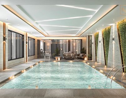 Pool and living design in Kuwait City