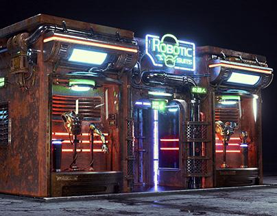 Cyberpunk robotic shop
