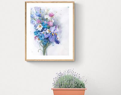 Wild flowers in watercolor