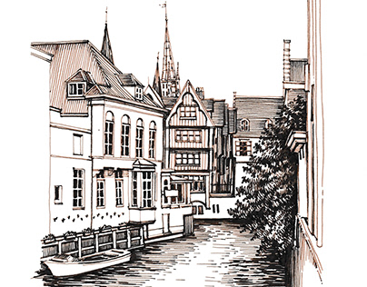 Canals and Streets of Bruges, Belgium. Ink Drawing.