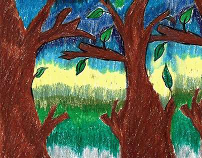 Tree_ OilPastel_ Drawing in Paper&Scan in Photoshop