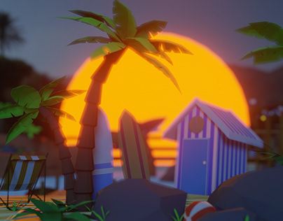 Low poly beach assets