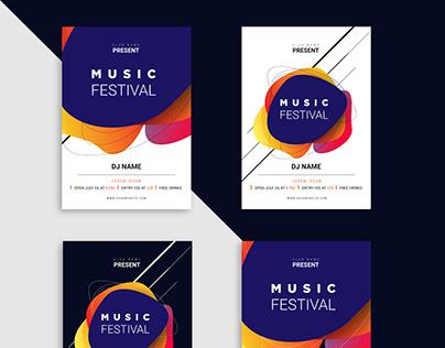 Music festival Vector Flyer template